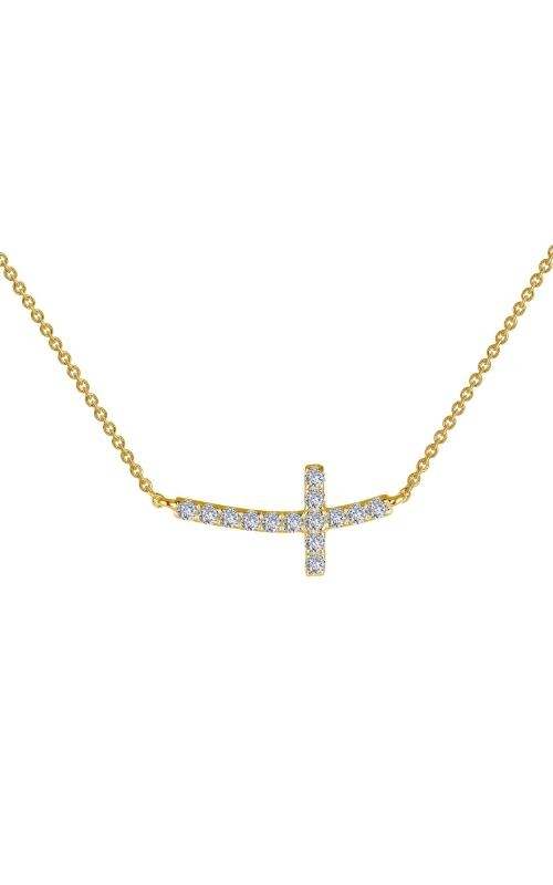 Albert's CZ Curved Cross GP Necklace N0140CLG18 product image