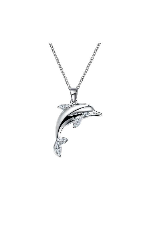 Albert's Sterling Silver CZ Dolphin Necklace N0158CLP20 product image