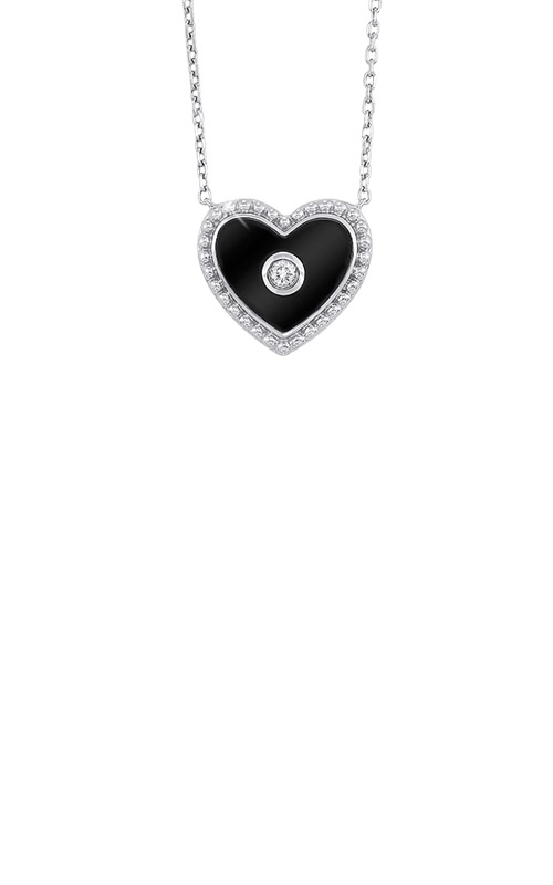 Albert's Sterling Silver Diamond Heart Necklace NK10172-SSWCCI product image