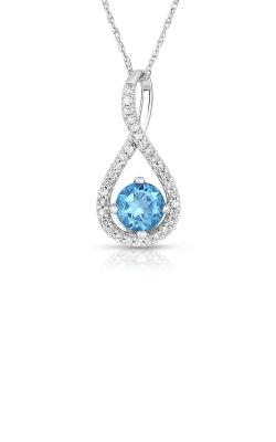 Albert's Sterling Silver Diamond Blue Topaz Necklace P2718-BLTPZ-SS product image