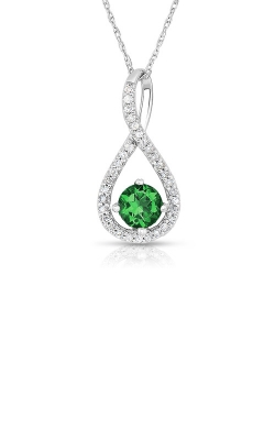 Albert's Sterling Silver Diamond Emerald Necklace P2718-EM-SS product image
