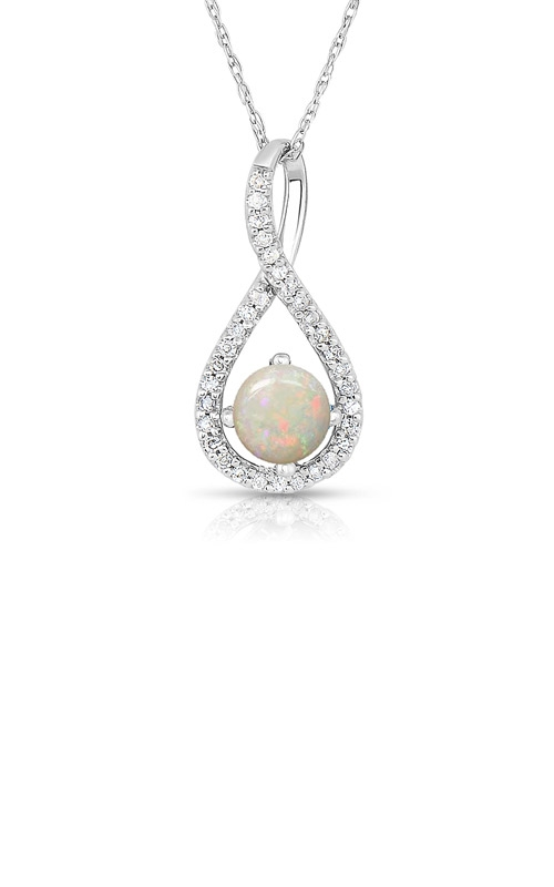 Albert's Sterling Silver Diamond Opal Necklace P2718-OPL-SS product image