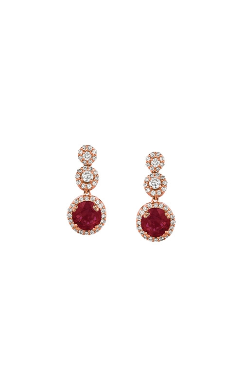 Albert's 14k Rose Gold 1.37ctw Ruby and Diamond Earrings PC6616R product image