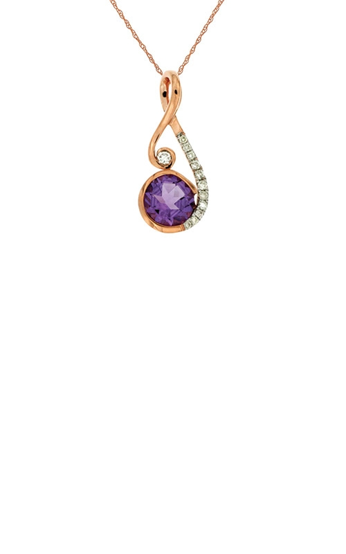 Albert's 14k Rose Gold .83ctw Amethyst and Diamond Necklace PC6767A product image