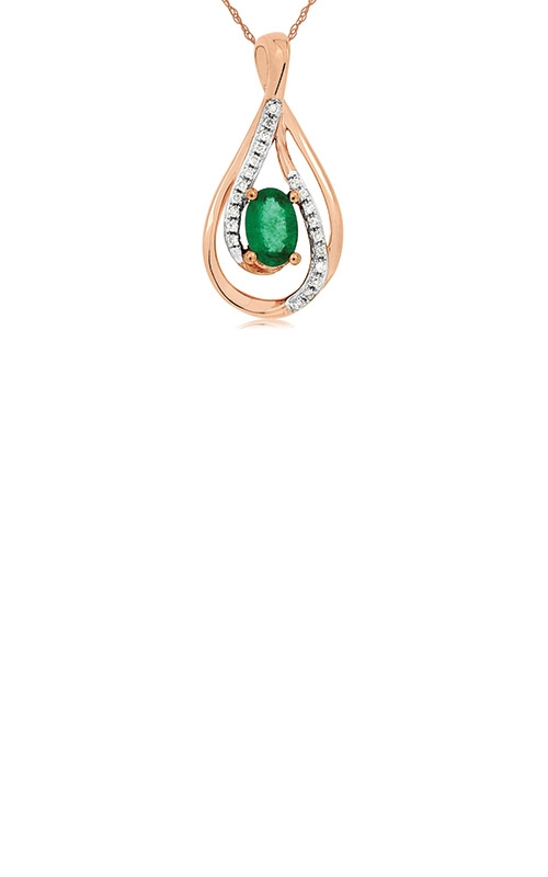 Albert's 14k Rose Gold .53ctw Emerald and Diamond Necklace PC7116E product image