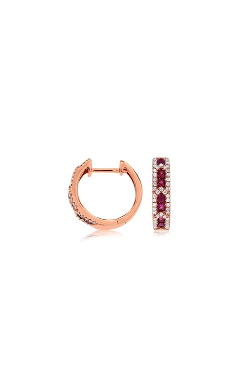 Albert's 14k Rose Gold .61ctw Ruby and Diamond Huggie Earrings PC8094R product image