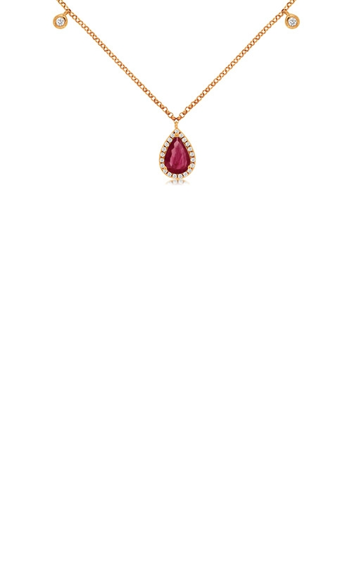 Albert's 14k Rose Gold .87ctw Ruby and Diamond Necklace PC8106R product image