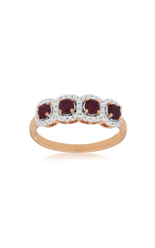 Albert's 14k Rose Gold .81ctw Ruby Diamond Halo Ring PC8470R product image