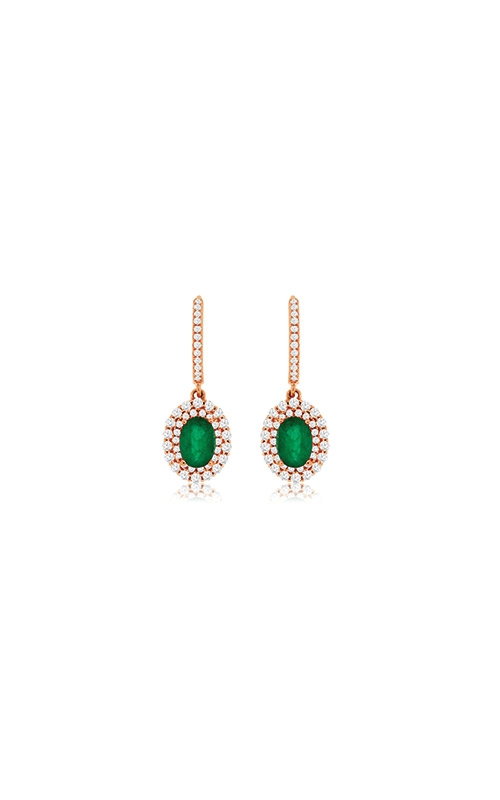 Albert's 14k Rose Gold 2.25ctw Emerald and Diamond Earrings PC8530E product image