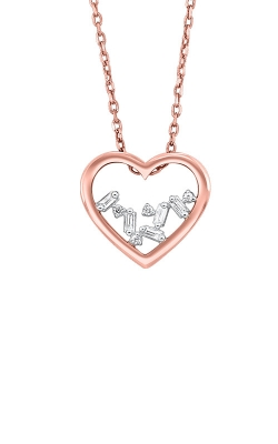 Albert's 14k Rose Gold 1/20ctw Baguette Heart Necklace PD10363-4PCSC product image