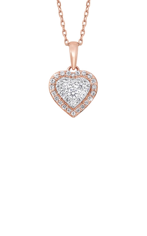 Albert's 14k White and Rose Gold 1/4ctw Diamond Heart Necklace PD10365-4PDSC product image