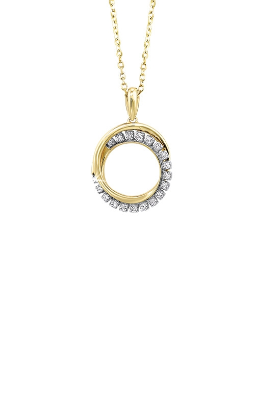 Albert's 14k Yellow Gold 1/10ct Diamond Circle Necklace PD28997-1YD product image