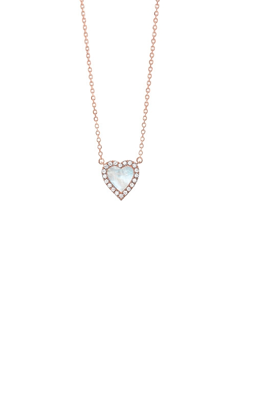 Albert's 14k Rose Gold 1/10ctw Diamond Mother of Pearl Heart Necklace PD32559-4PDMOP product image