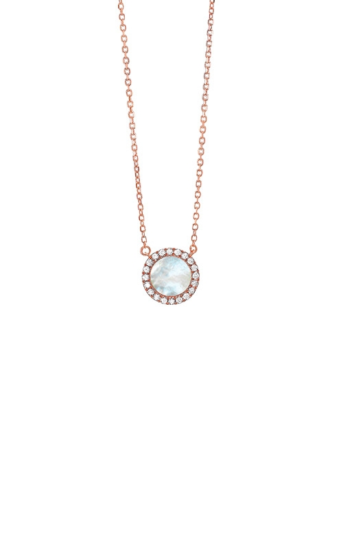 Albert's 14k Rose Gold 1/10ctw Diamond Mother of Pearl Round Necklace PD32611-4PDMOP product image