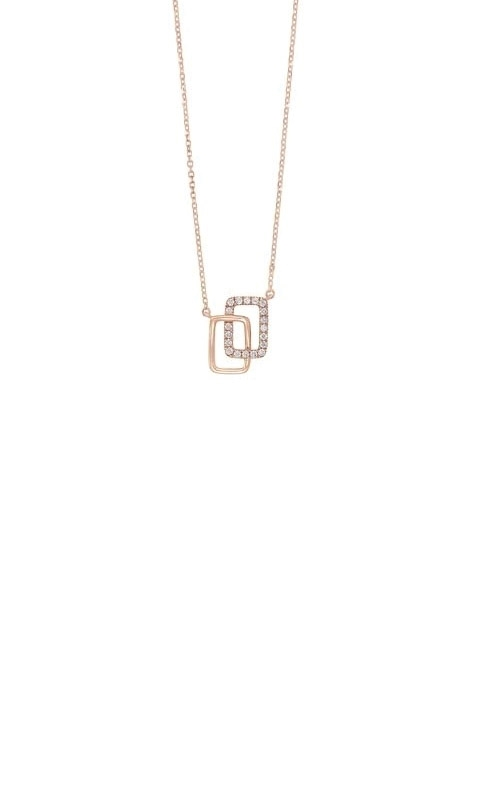 Albert's 14k Rose Gold Diamond Rectangle Necklace PD33090-4PD product image