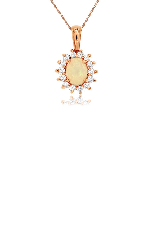 Albert's 14k Rose Gold .80ctw Opal Diamond Necklace PP3188F product image