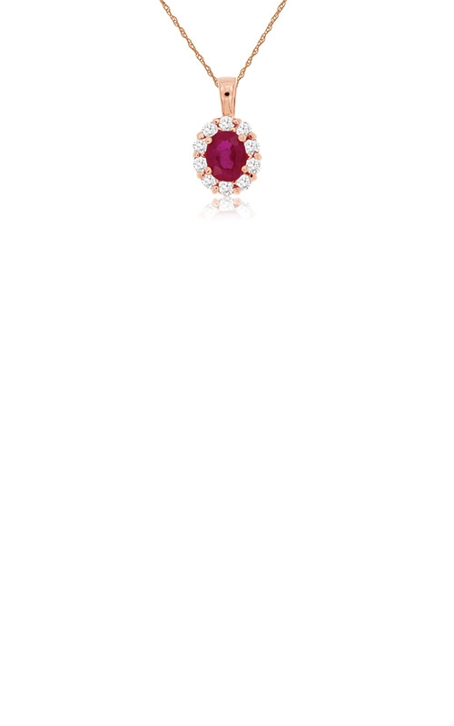 Albert's 14k Rose Gold .60ctw Ruby and Diamond Necklace PP3789R product image