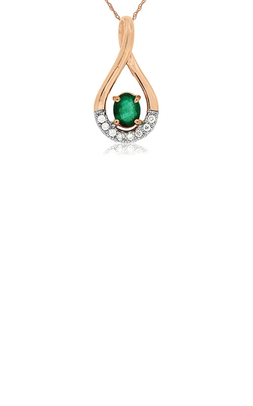 Albert's 14k Rose Gold .41ctw Emerald and Diamond Necklace PP3889E product image