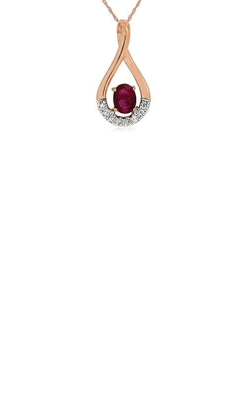 Albert's 14k Rose Gold .41ctw Ruby and Diamond Necklace PP3889R product image