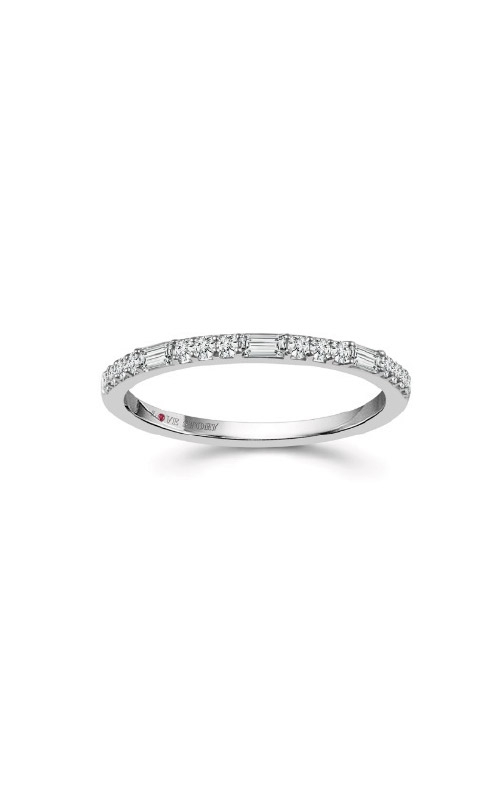 Albert's 14k White Gold 1/5ctw Round & Baguette Wedding Band RB-8027LSA56W4BS product image