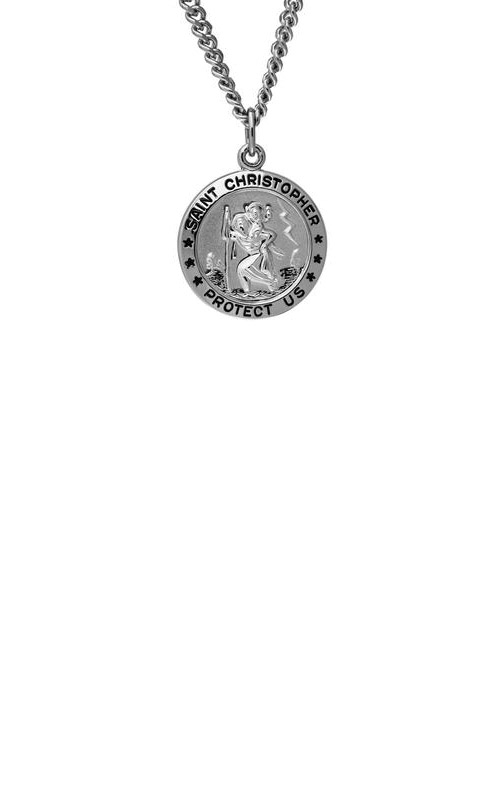 Albert's Sterling Silver Embossed Saint Christopher Necklace SC109 product image