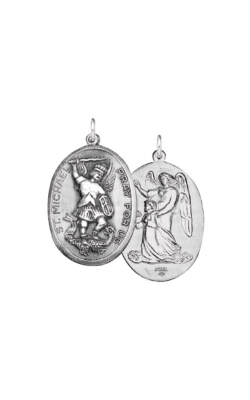 Albert's Sterling Silver Saint Michael Double Sided Necklace SC401 product image