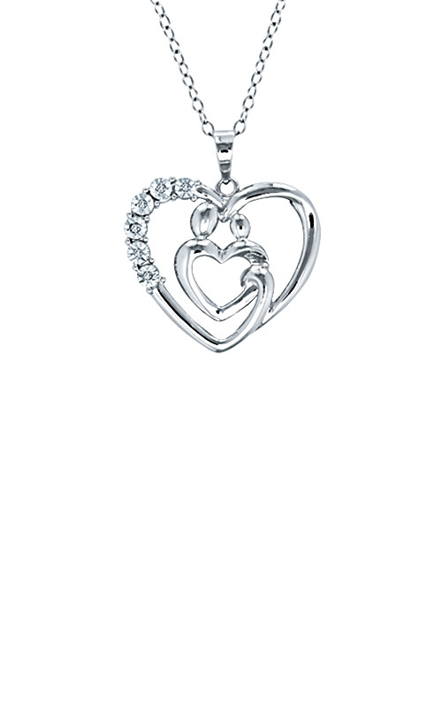 Albert's Sterling Silver Mother & Child Heart Pendant SSNEC52605 product image