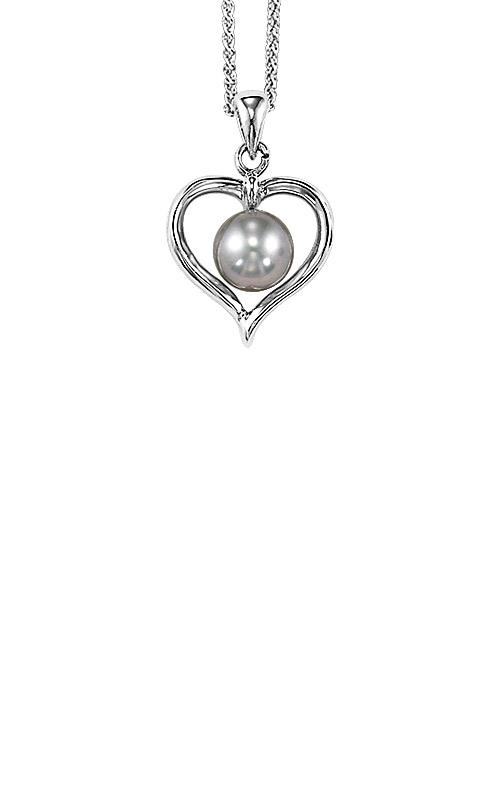 Albert's Silver Pearl Heart Necklace 096PG product image