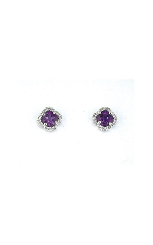 Albert's 14k White Gold .90ctw Amethyst and Diamond Stud Earrings WC3222A product image