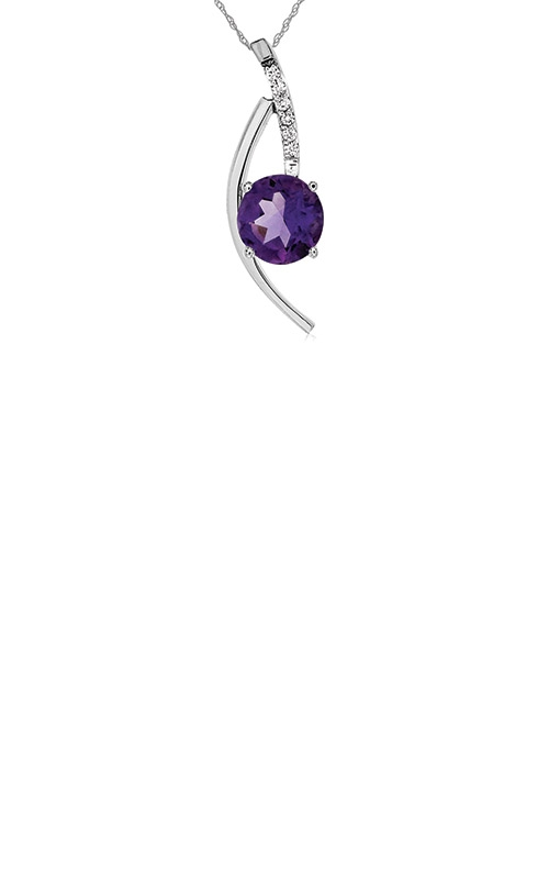 Albert's 14k White Gold 1.15ctw Amethyst Diamond Necklace WC4828A product image