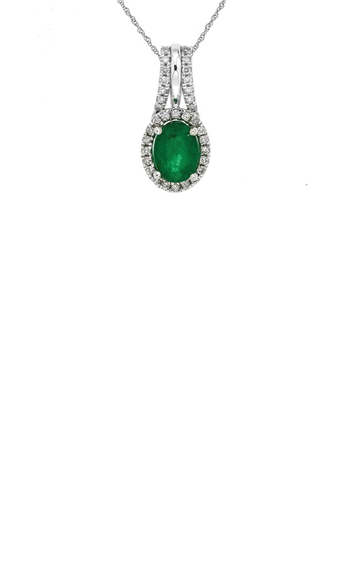 Albert's 14k White Gold 1.45ctw Emerald and Diamond Necklace WC6327E product image