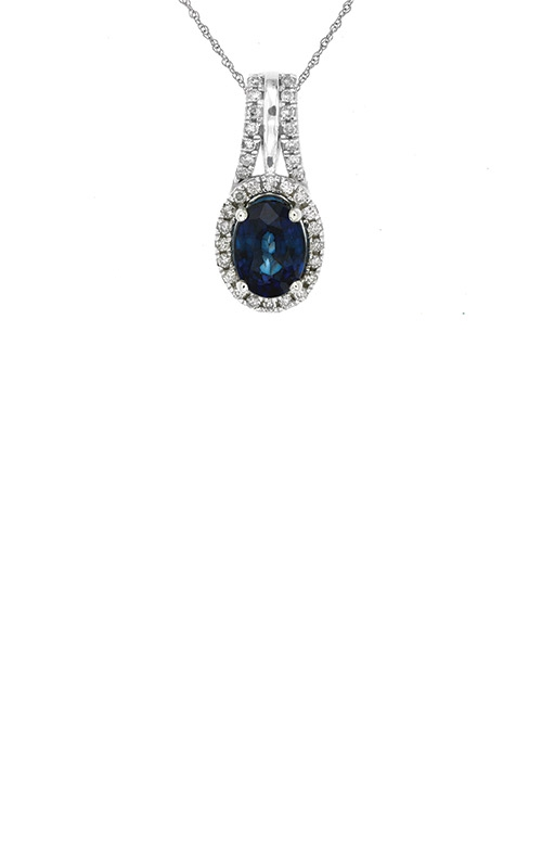 Albert's 14k White Gold 1.72ctw Blue Sapphire Diamond Necklace WC6327S product image
