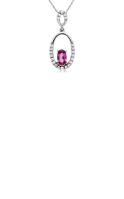 Albert's 14k White Gold .40ctw Pink Sapphire and Diamond Necklace WC6485P product image