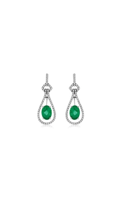 Albert's 14k White Gold 1.74 Emerald And Diamond Drop Earrings WC6549E product image