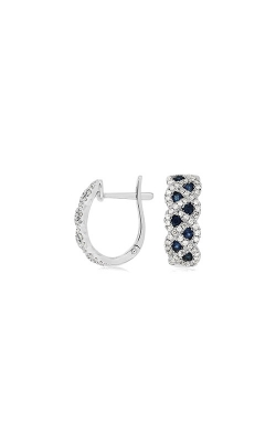 Albert's 14k White Gold .94ctw Blue Sapphire And Diamond Huggie Earrings WC7445S product image