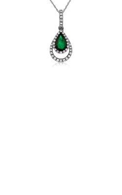 Albert's 14k White Gold .46ctw Emerald And Diamond Necklace WC7762E product image
