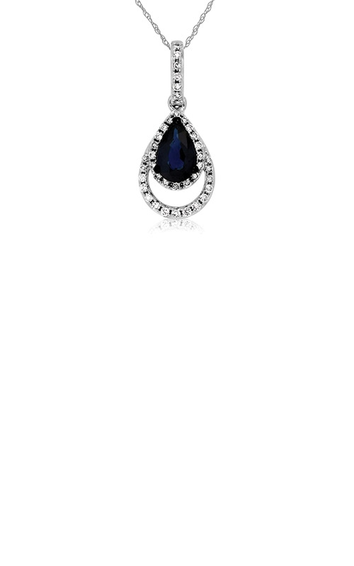 Albert's 14k White Gold .63ctw Blue Sapphire and Diamond Necklace WC7762S product image