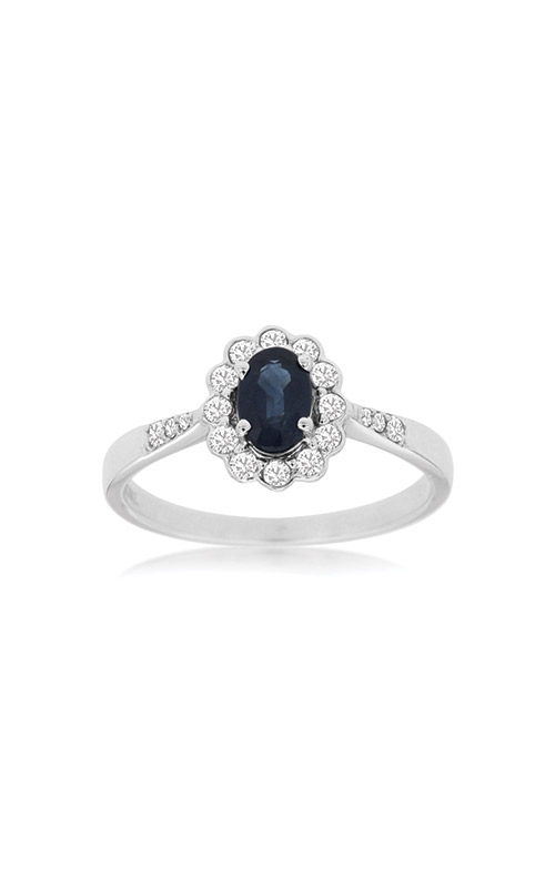 Albert's 14k White Gold .92ctw Blue Sapphire Diamond Halo Ring WC8467S product image