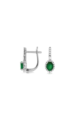 Albert's 14k White Gold .90ctw Emerald And Diamond Earrings WC8538E product image