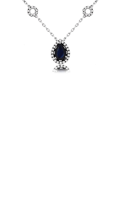 Albert's 14k White Gold 1.13ctw Blue Sapphire and Diamond Necklace WC8697S product image