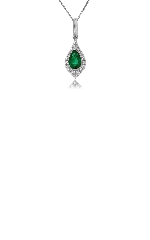 Albert's 14k White Gold .48ctw Emerald and Diamond Necklace WC8830E product image