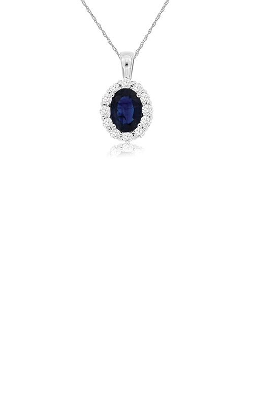 Albert's 14k White Gold 1.30ctw Blue Sapphire and Diamond Necklace WP3788S product image