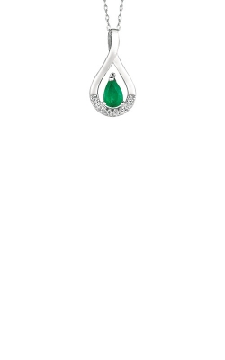 Albert's 14k White Gold .44ctw Emerald And Diamond Necklace WP3861E product image