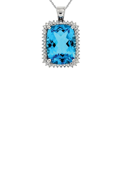 Albert's 14k White Gold 12.90ctw Blue Topaz and Diamond Necklace WP3871B product image