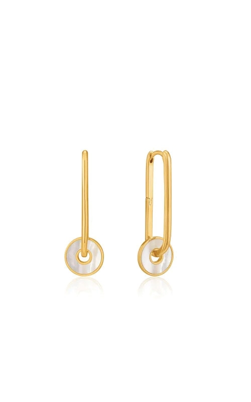 Ania Haie Gold Mother of Pearl Disc Hoop Earrings E022-04G product image