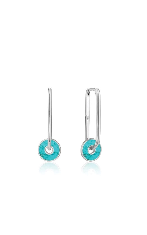 Ania Haie Silver Turquoise Disc Hoop Earrings E022-04H product image