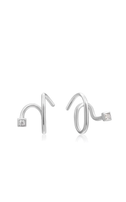 Ania Haie Silver Twist Square Sparkle Earrings E023-06H product image