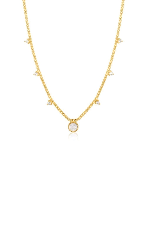 Ania Haie Gold Mother of Pearl Drop Disc Necklace N022-03G product image