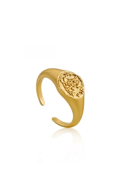 Ania Haie Emblem Adjustable Signet Ring - Size 7 R009-03G product image