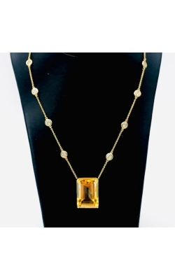 14k YG Citrine And Diamond Necklace product image